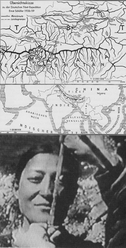 (Top) A German map of Tibet shows the route that the 1939 German expedition to Tibet followed between Sikkim and Lhasa. the British authorities in India, bowing to diplomatic pressure, did not prevent the expedition from crossing the border into Tibet. (Bottom): Bruno Beger, the expdition's anthropologist, hoped to find evidence of Aryan blood in the Tibetan people. here a member of the expedition measures a Tibetan woman's head. Some German scientists believed that Aryan features were reflected in the dimensions of the skull. © Transit Films GMBH