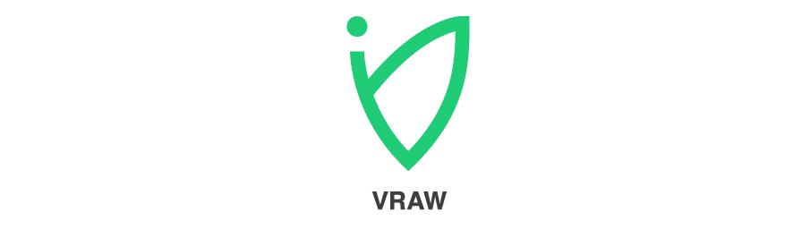 "Vraw Logomark with text ""vraw"" under the symbol"