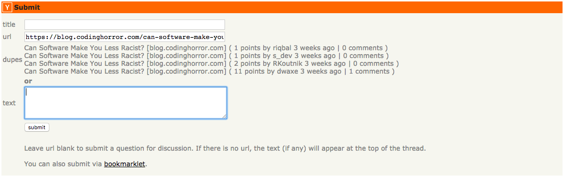 Hacker News Duplicate Checker screenshot