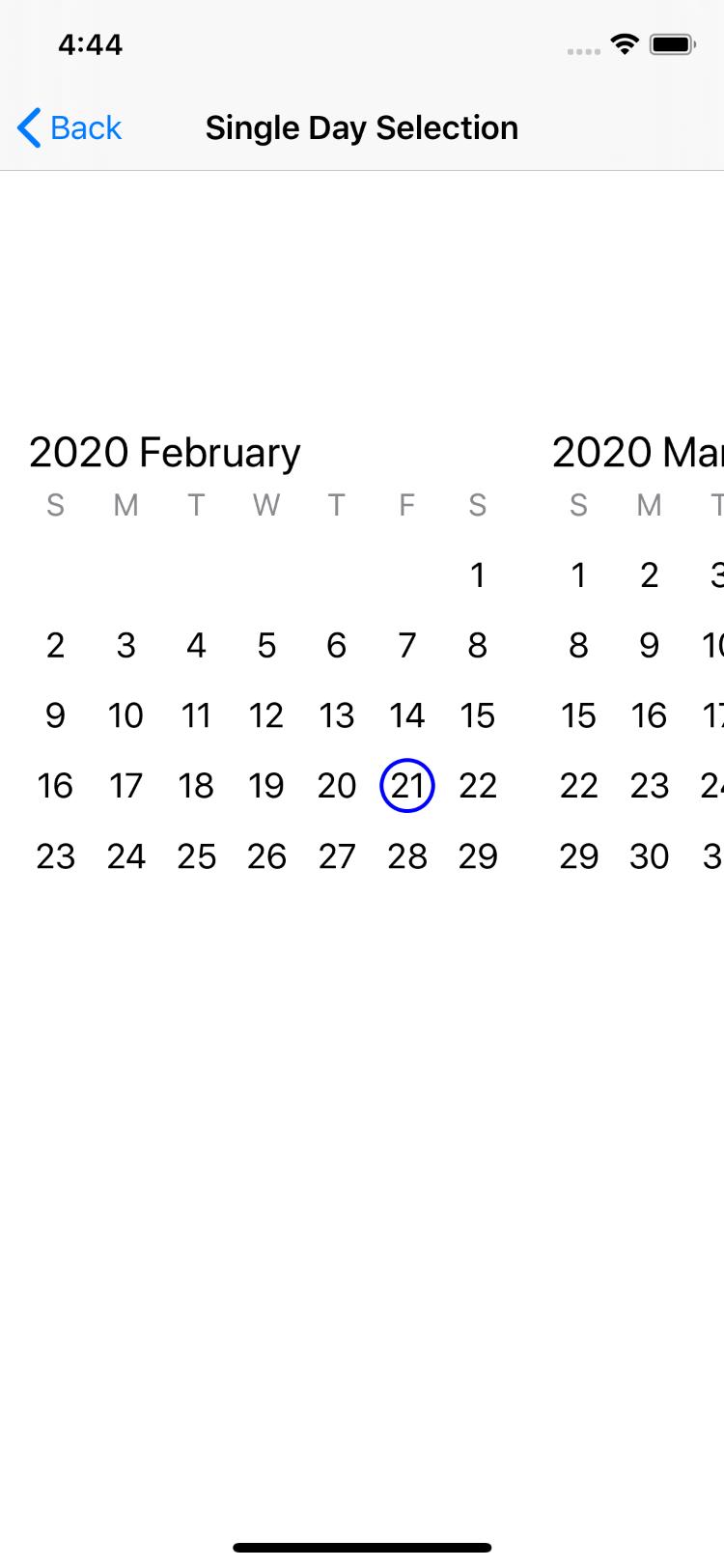 Single Day Selection Horizontal