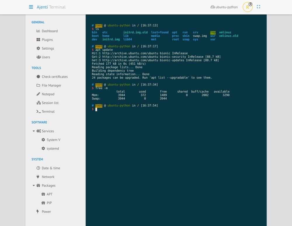 Screenshot Ajenti Terminal