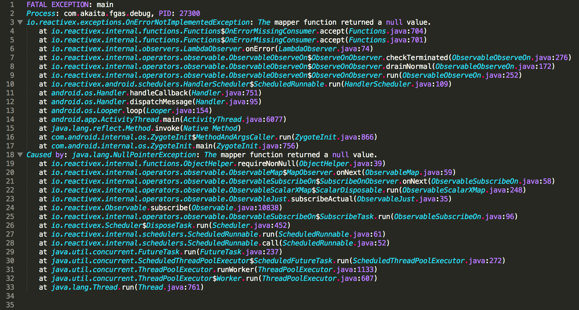 raw stack trace