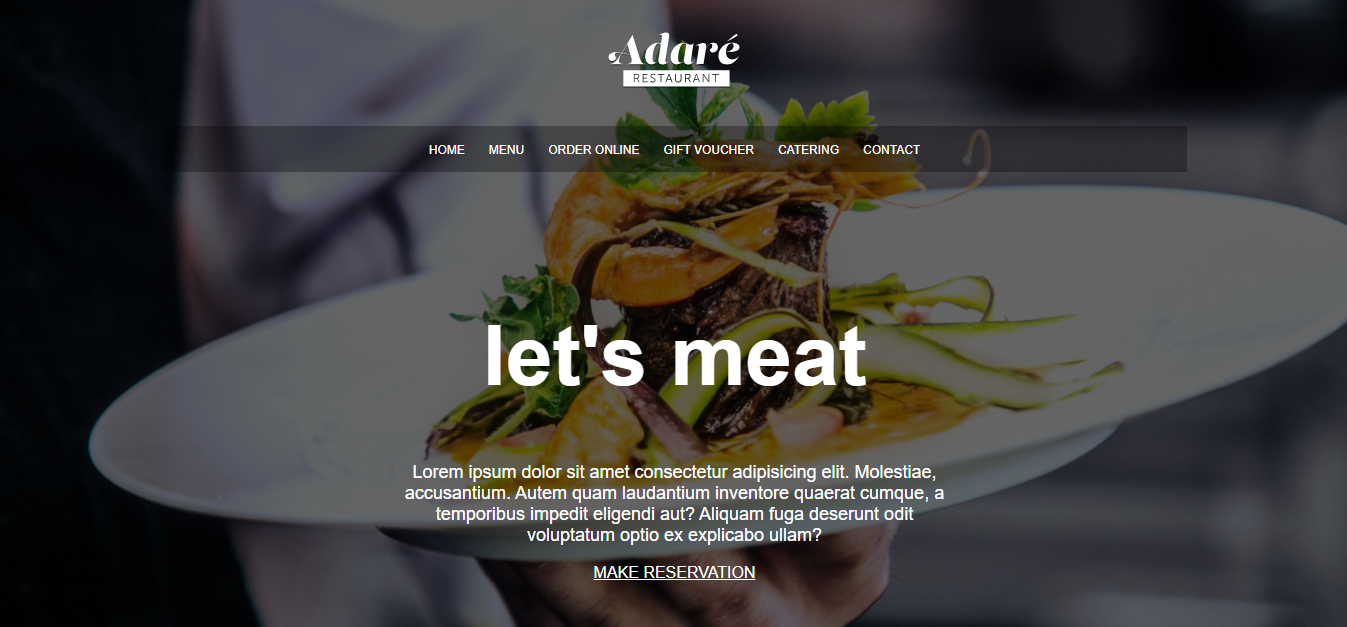 adare restaurant website