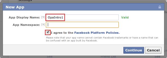 Facebook Developer new app dialog