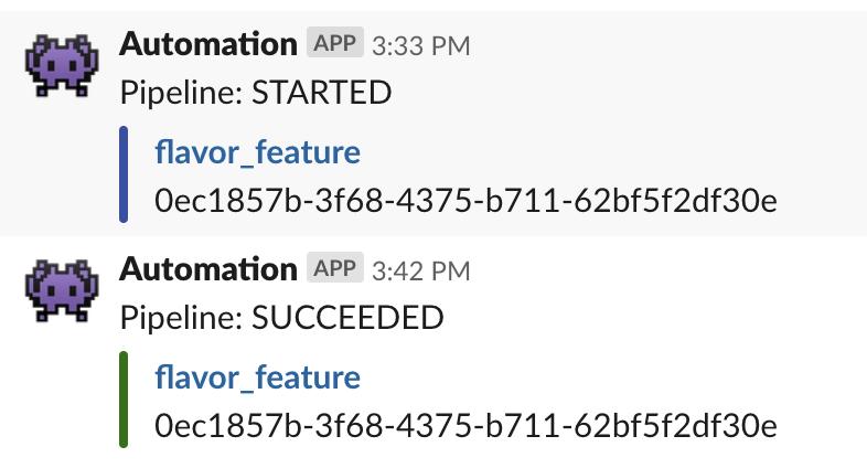 Example Slack messages