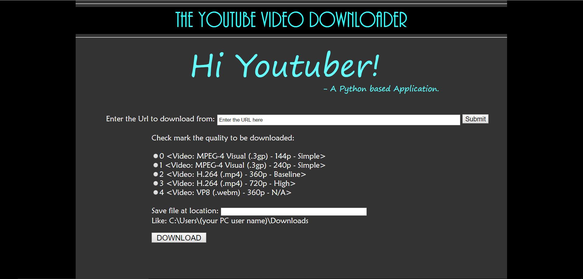 GitHub - akshayraghav/youtube_downloader: A python-flask
