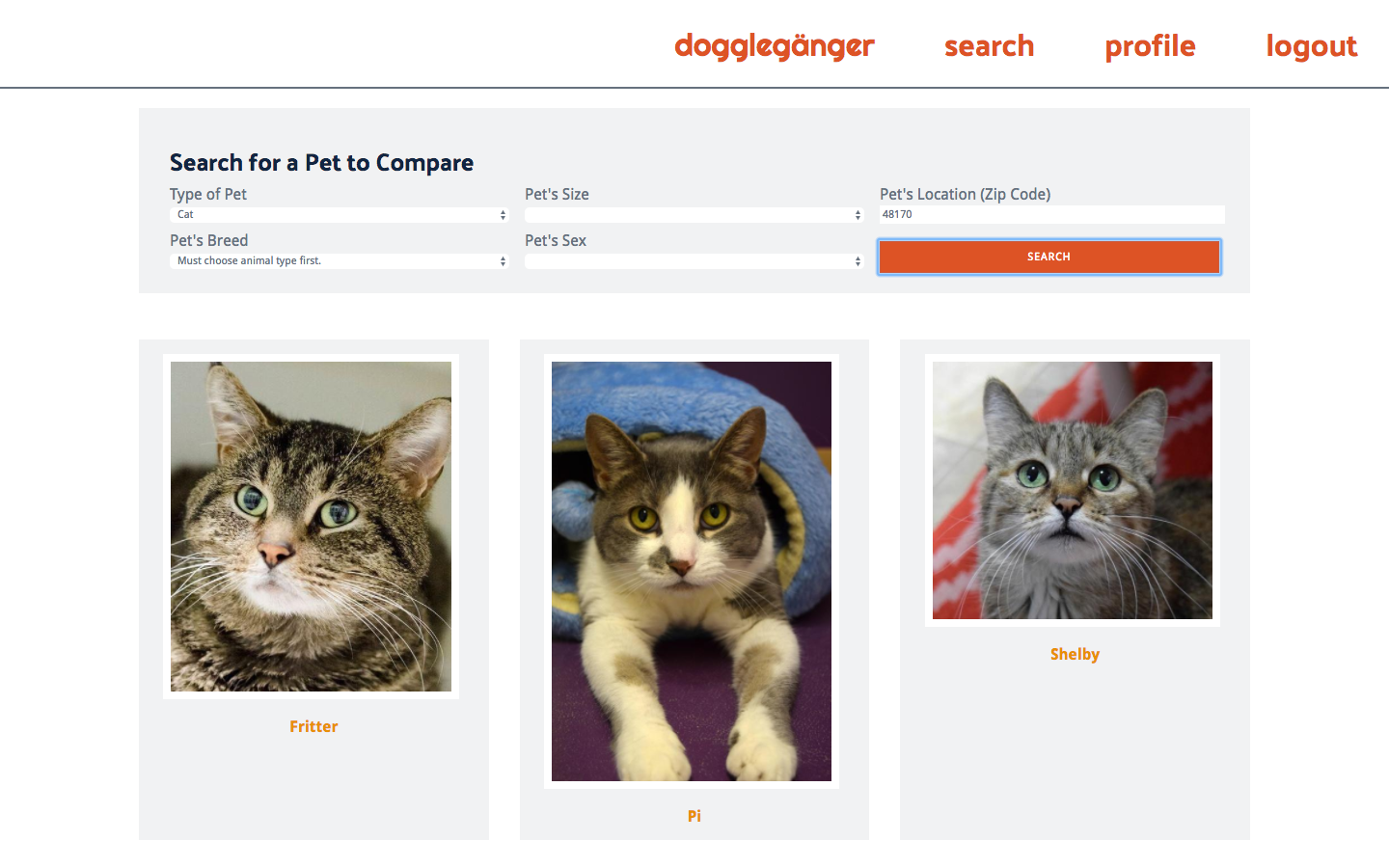 Doggleganger Search Page Example