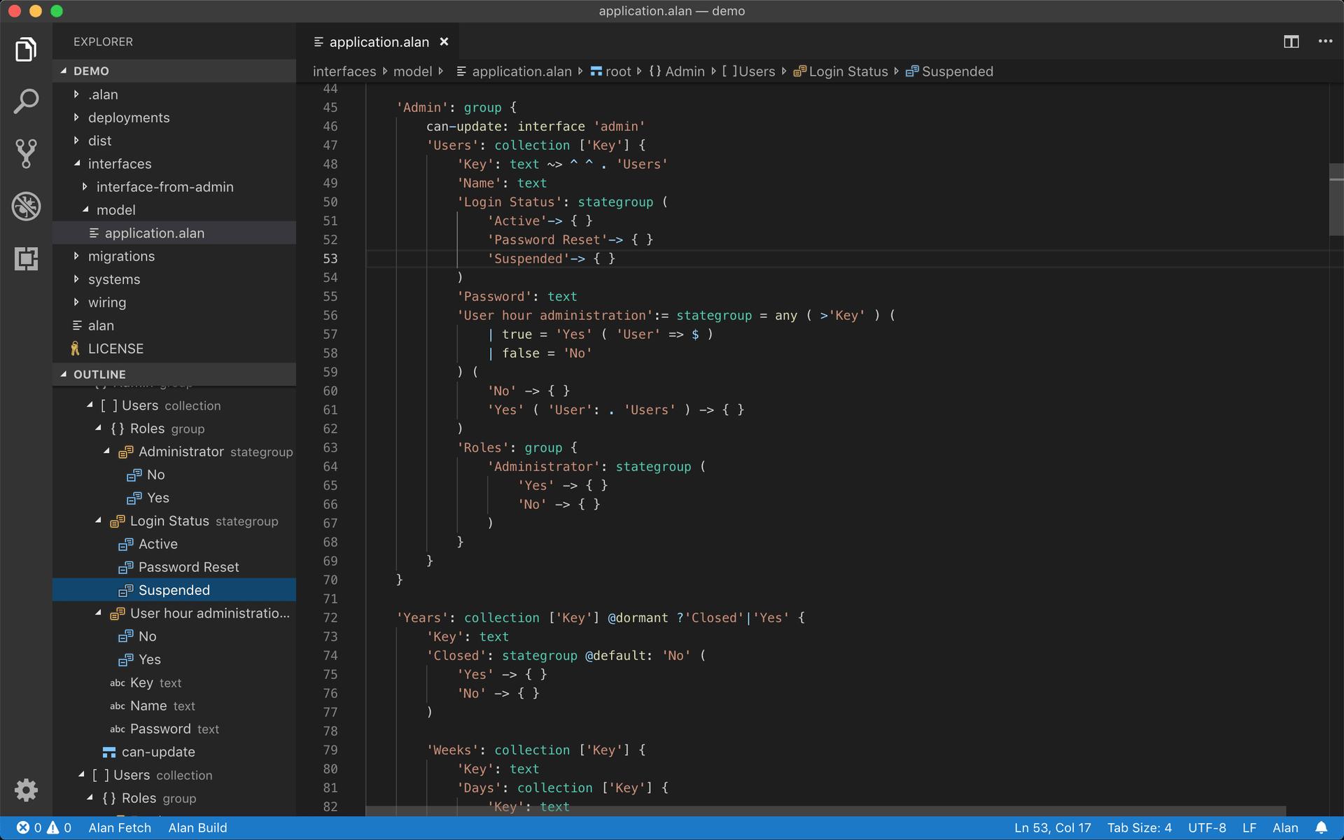 Screenshot of the Alan extension for Visual Studio Code