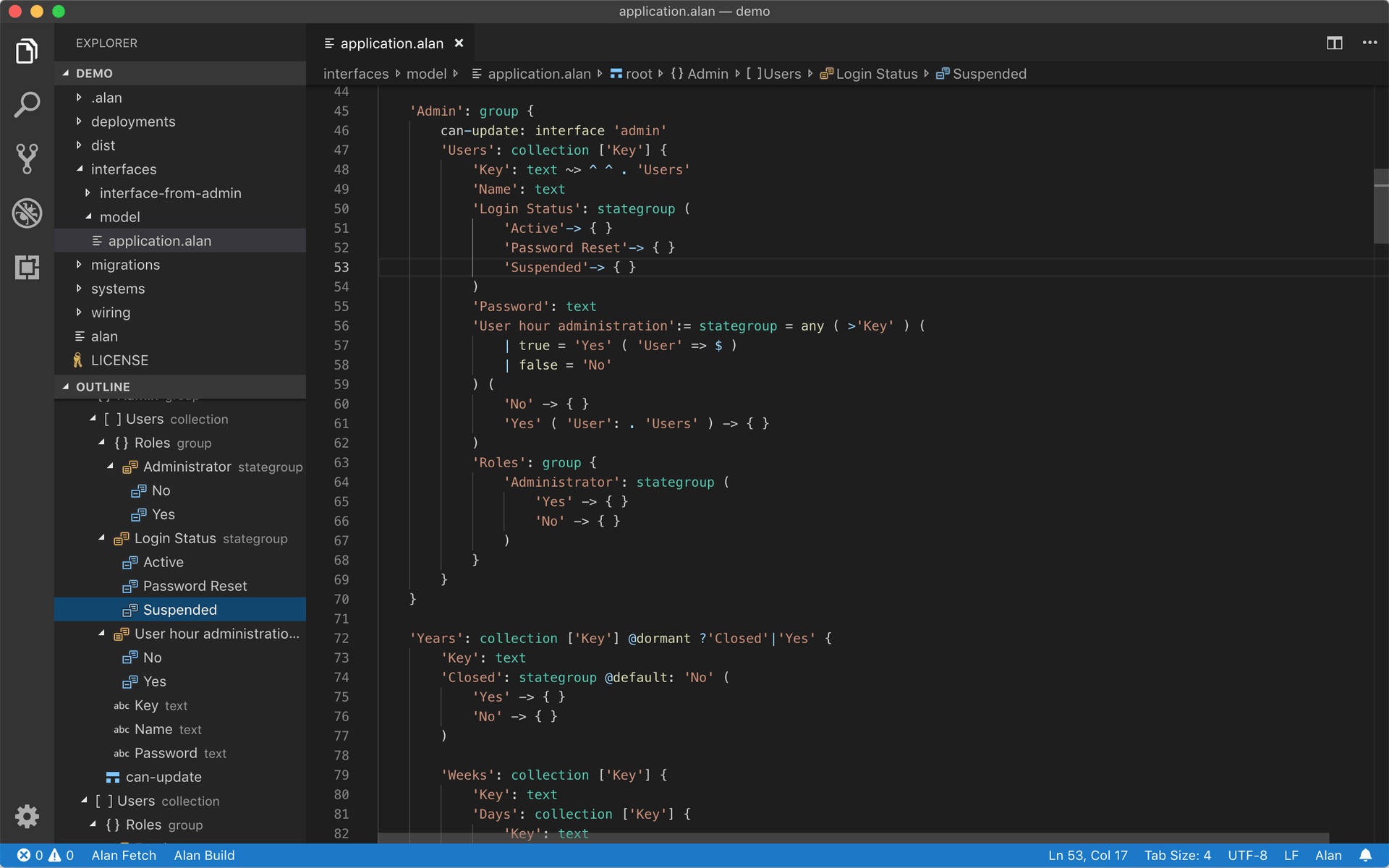 Screenshot of the Alan extension for Visual Studio Code