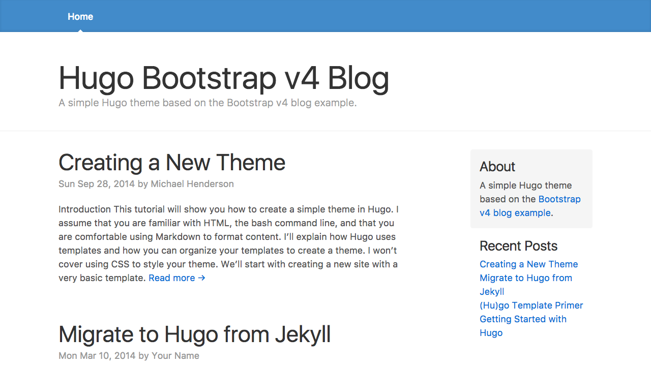 Hugo Theme Bootstrap4 Blog | Hugo Themes