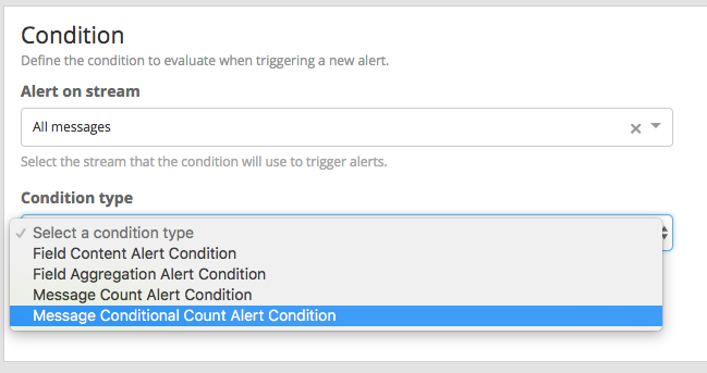 Alert Condition Selection
