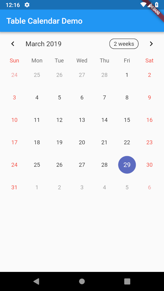 Flutter Calendar Animation