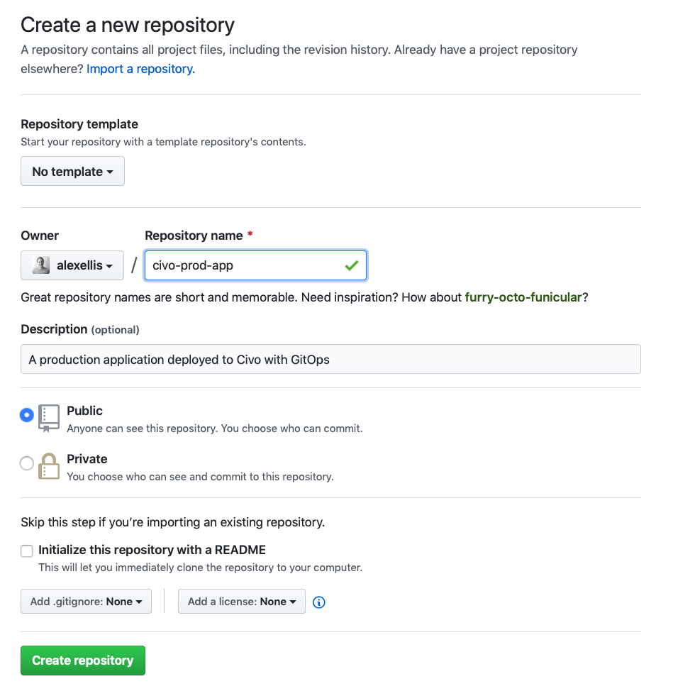 GitHub New Repository Creation