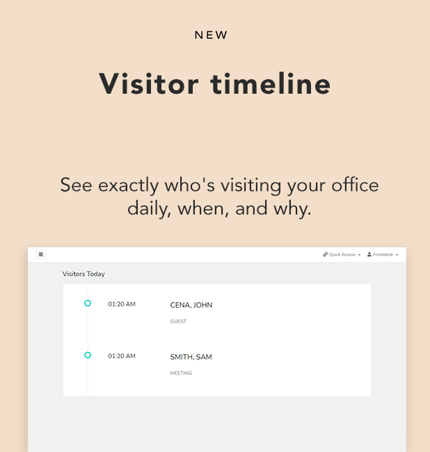 frontdesk new feature visitor timeline