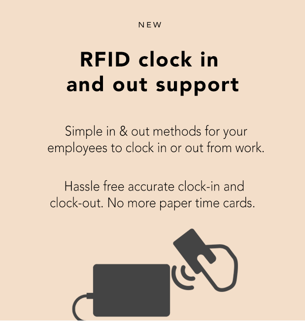 rfid clock in and out support