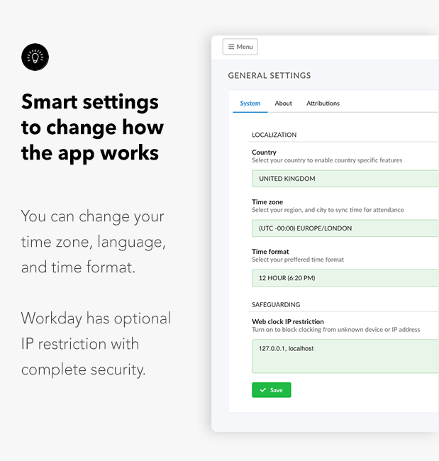 smart settings to change how the app works