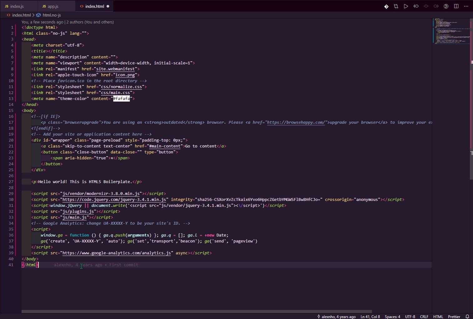 Theme HTML screenshot