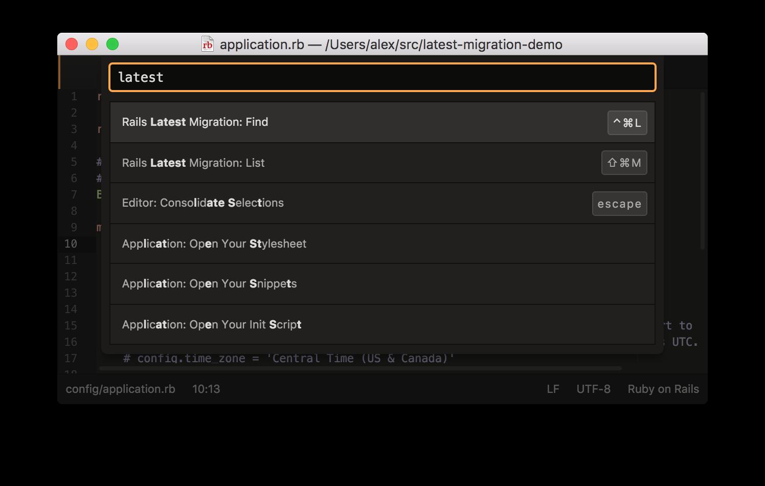 Rails latest migration screenshot