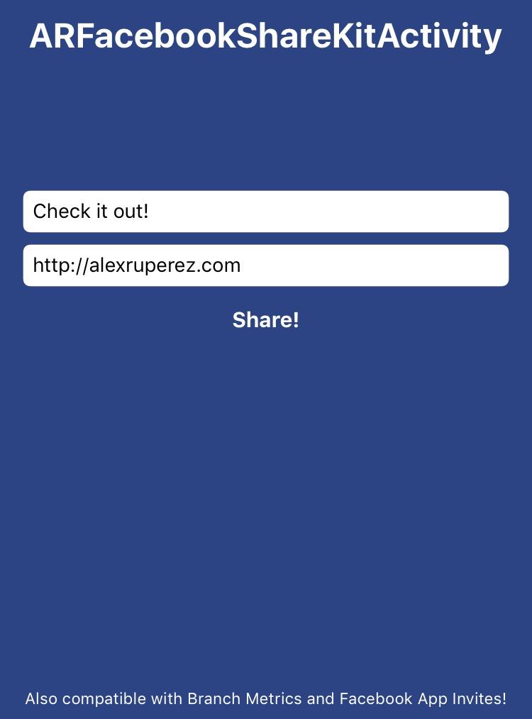ARFacebookShareKitActivity Screenshot 1