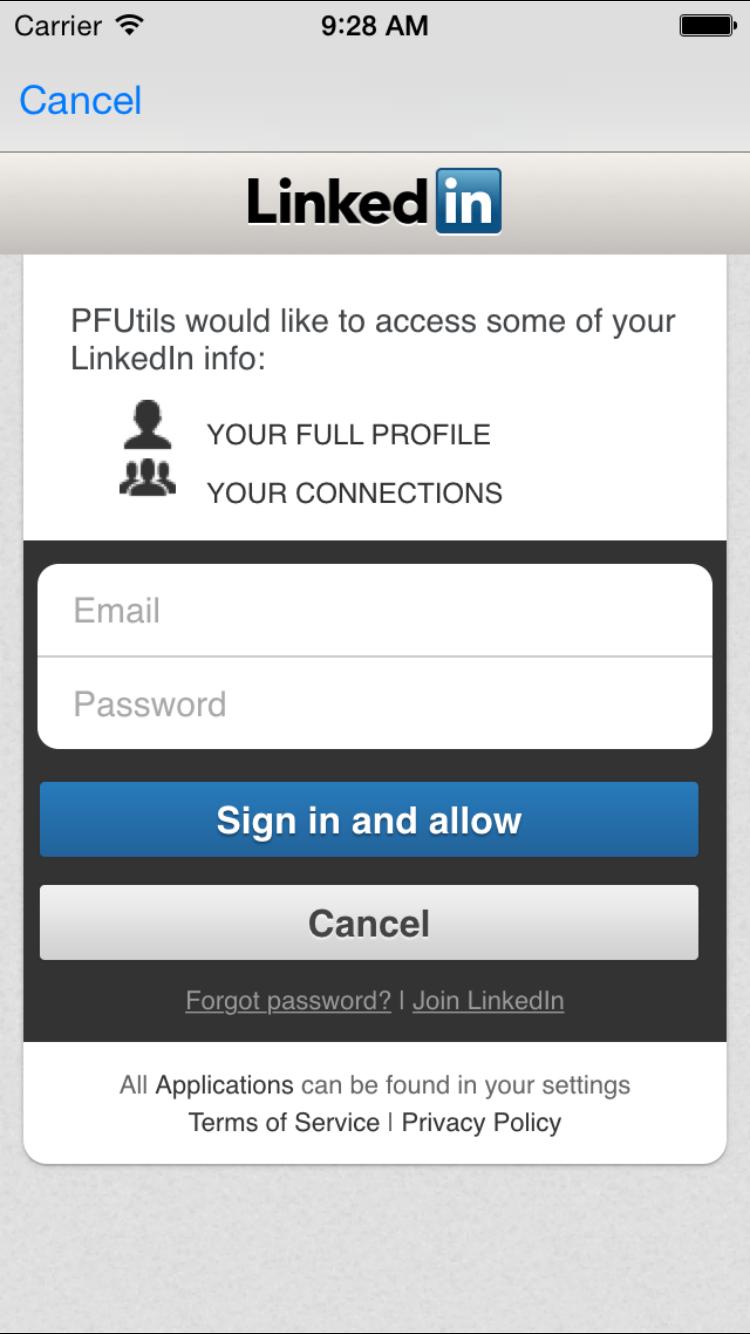PFLinkedInUtils Screenshot