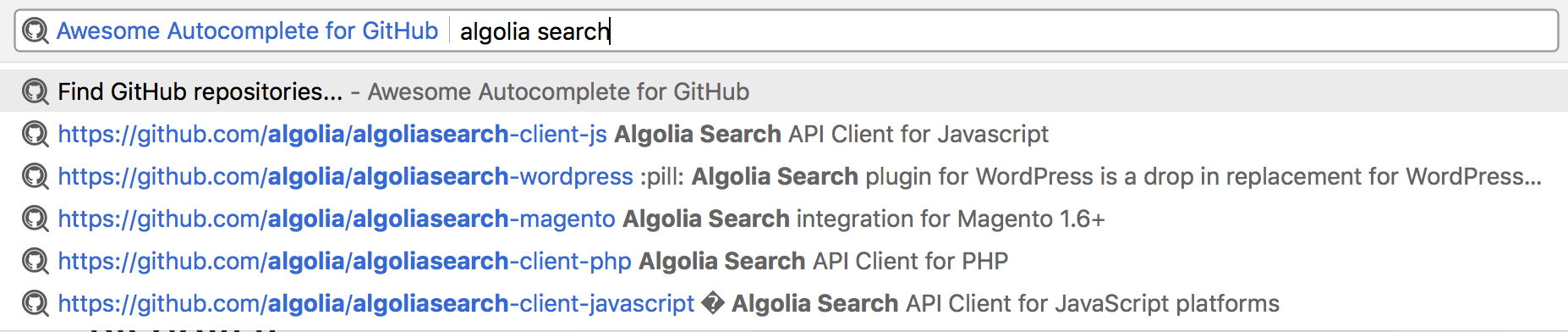 find GitHub repositories from the address bar