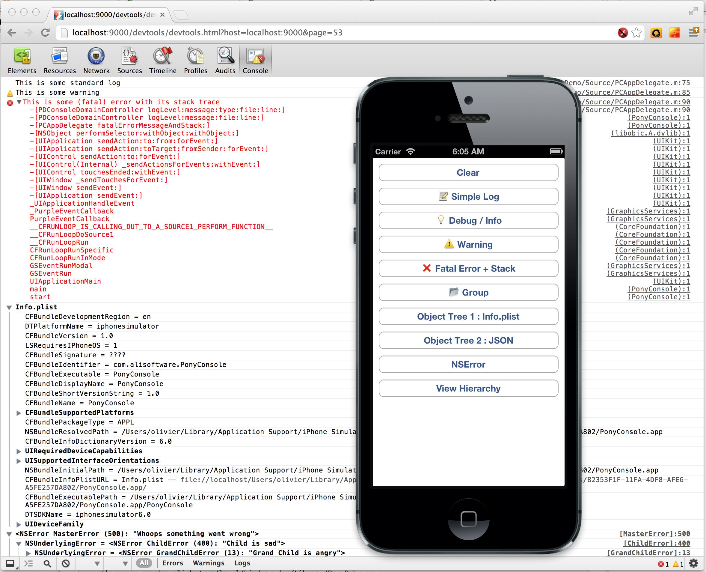 PonyDebugger Network Debugging Screenshot