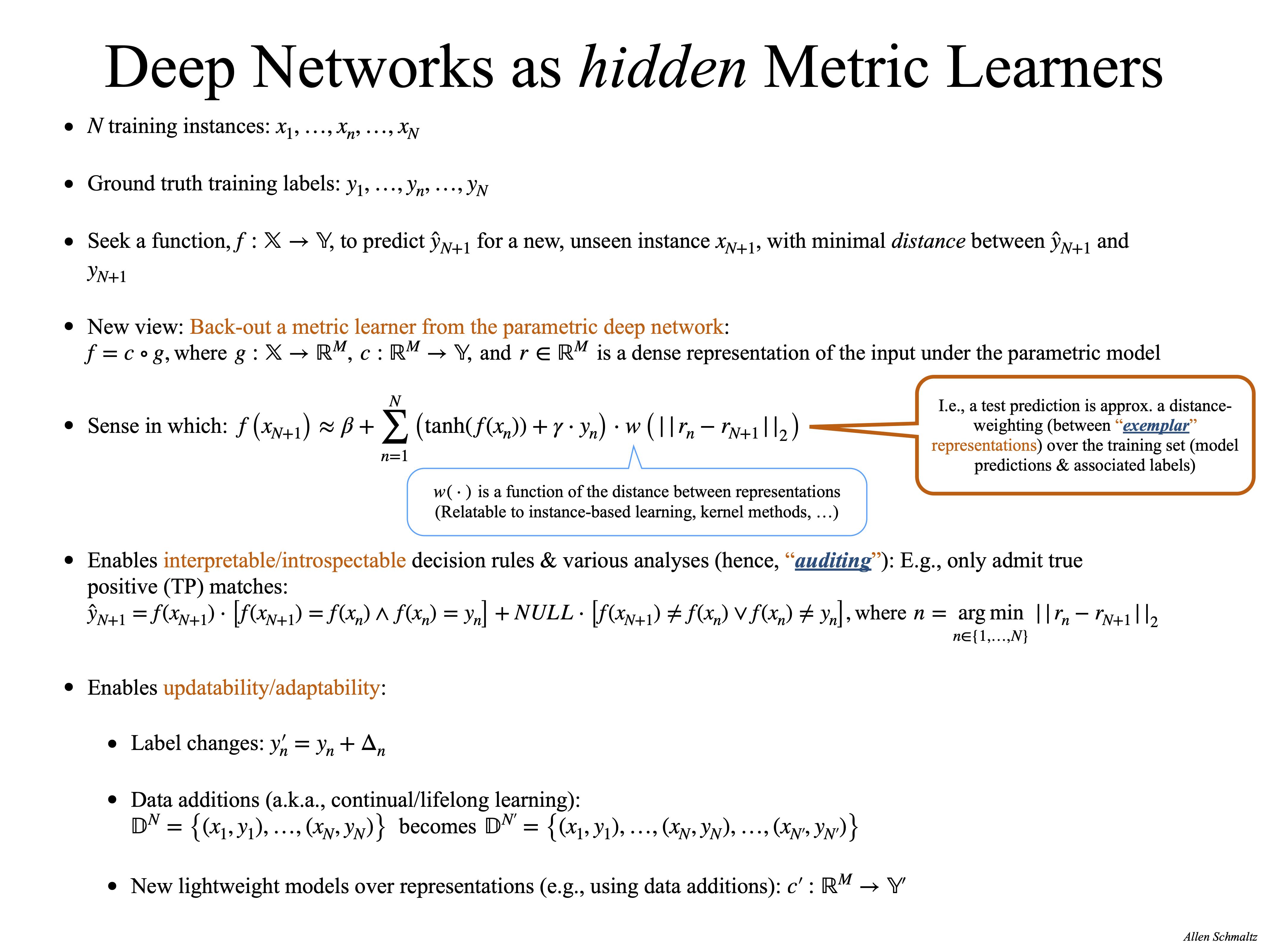 Deep Networks as Metric Learners