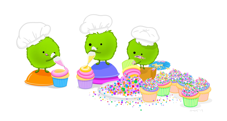 Ilustração por Allison Horst, onde representa três seres verdinhos e peludos que estão repetindo as etapas para criar cupcakes. Disponível <a href='https://github.com/allisonhorst/stats-illustrations'>aqui</a>.