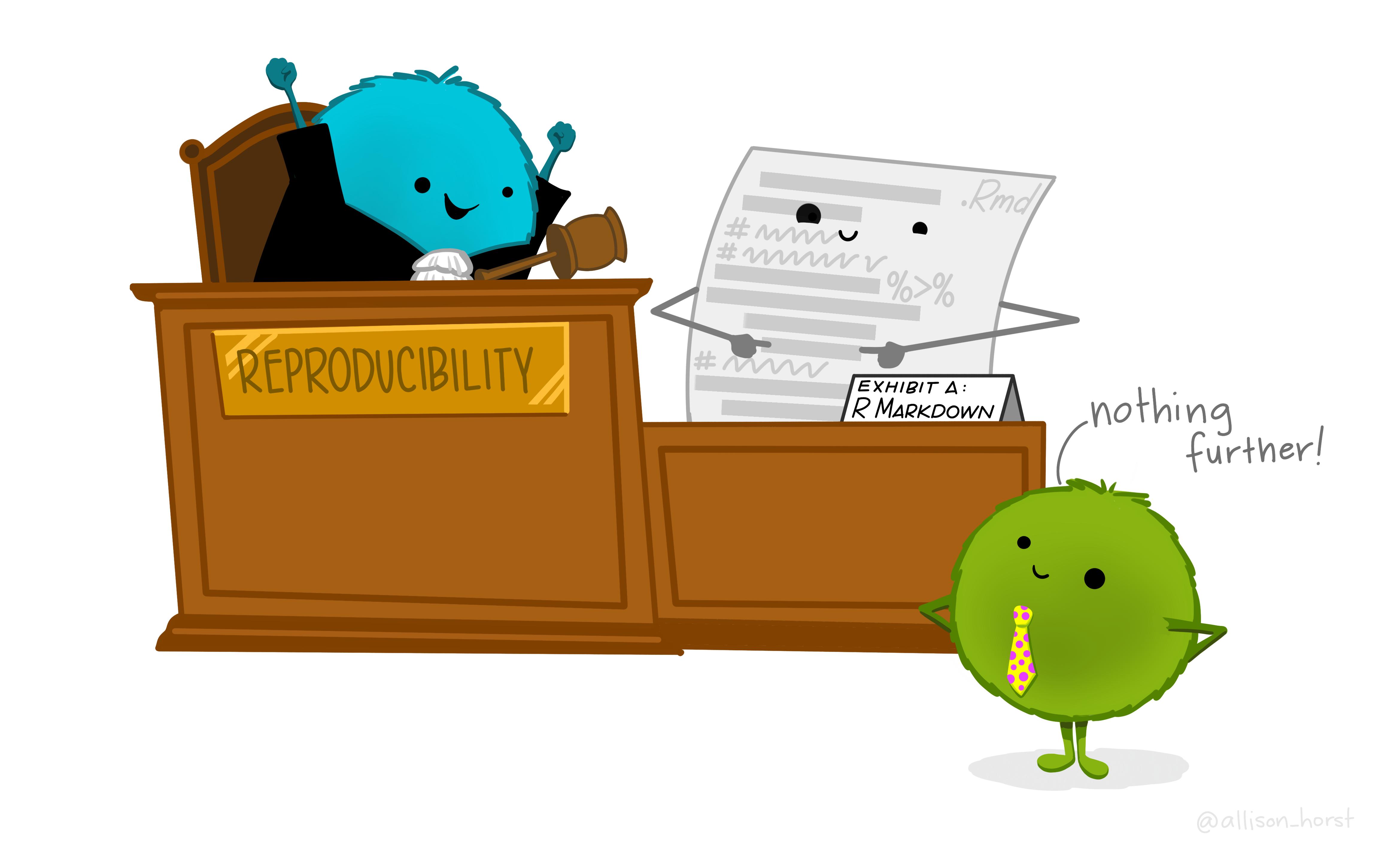 Ilustração sobre o pacote rmarkdown, criada por <a href='https://github.com/allisonhorst/stats-illustrations'>Allison Horst</a>.