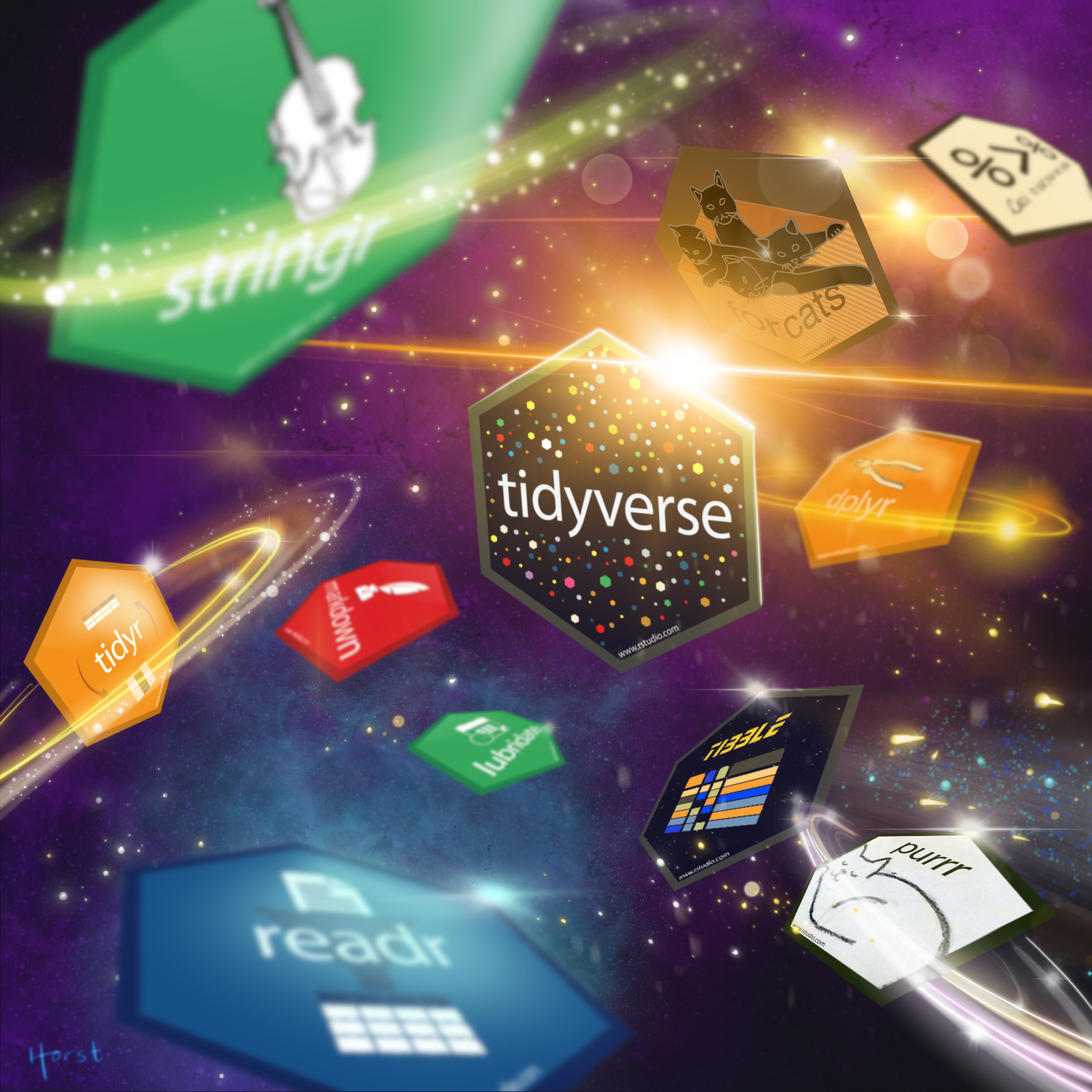 """""""Tidyverse Celestial"""" by Allison Horst. """"tidyverse"""" hex sticker in space surrounded by other tidyverse package hex logos."""
