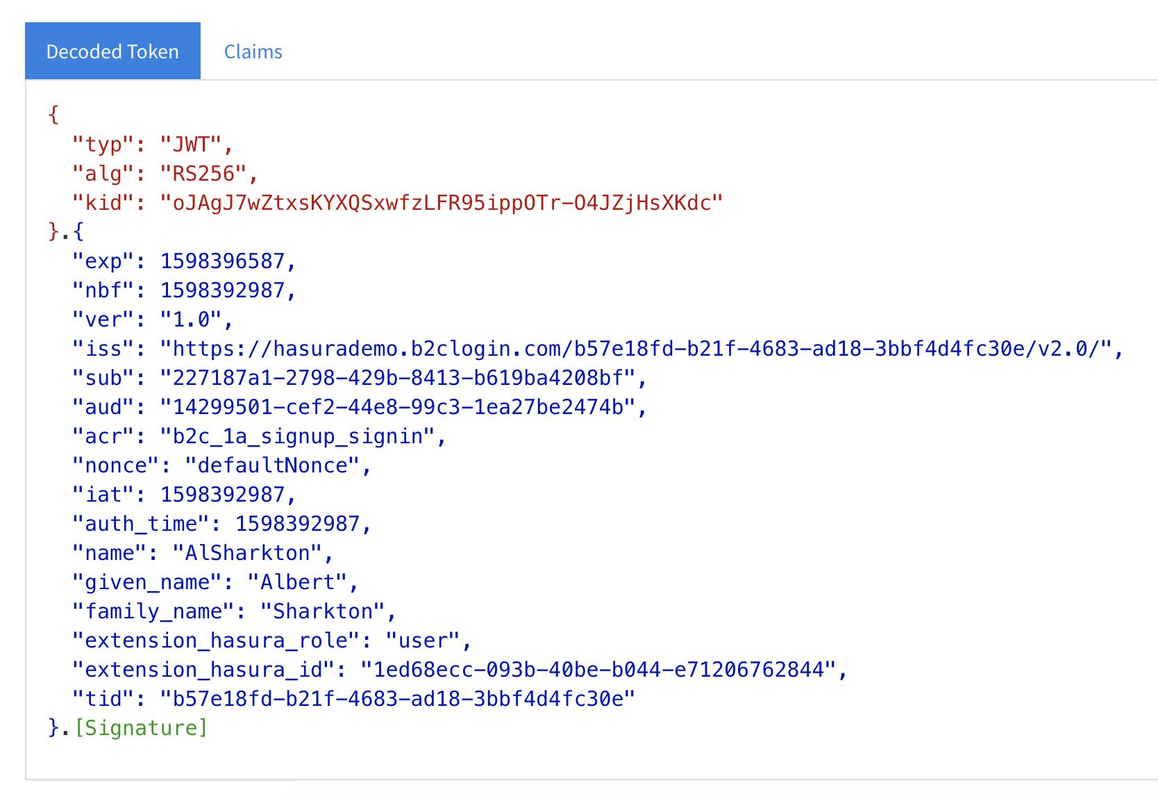 screenshot of valid token