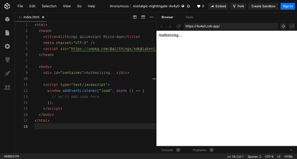 Example index.html on the left, browser preview on the right