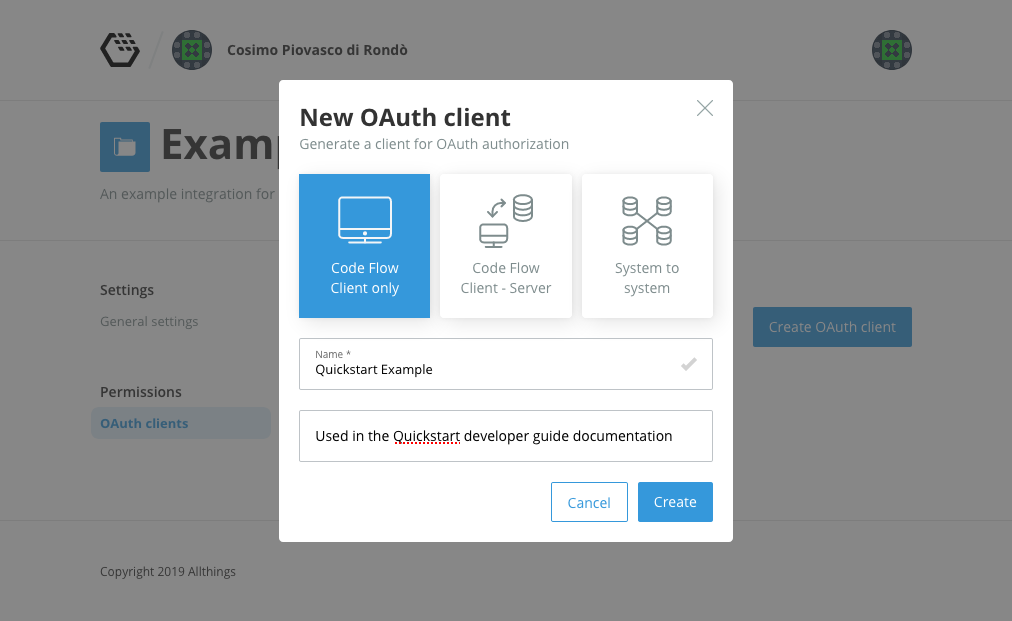 Creating an OAuth Code Flow public client