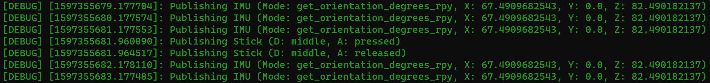 debug level log output