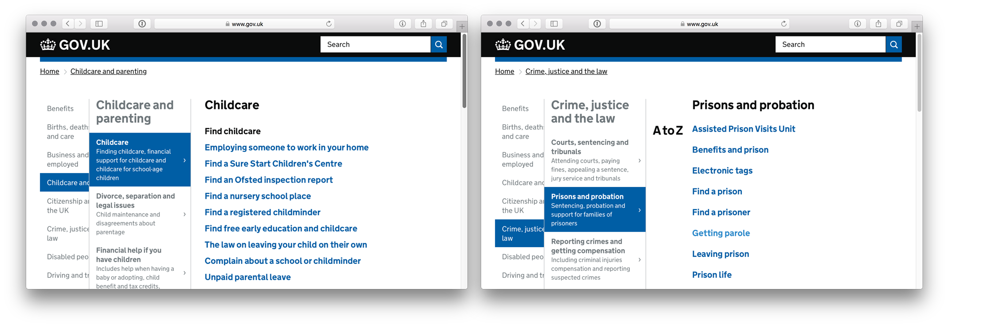 Screenshot of curated and non-curated pages