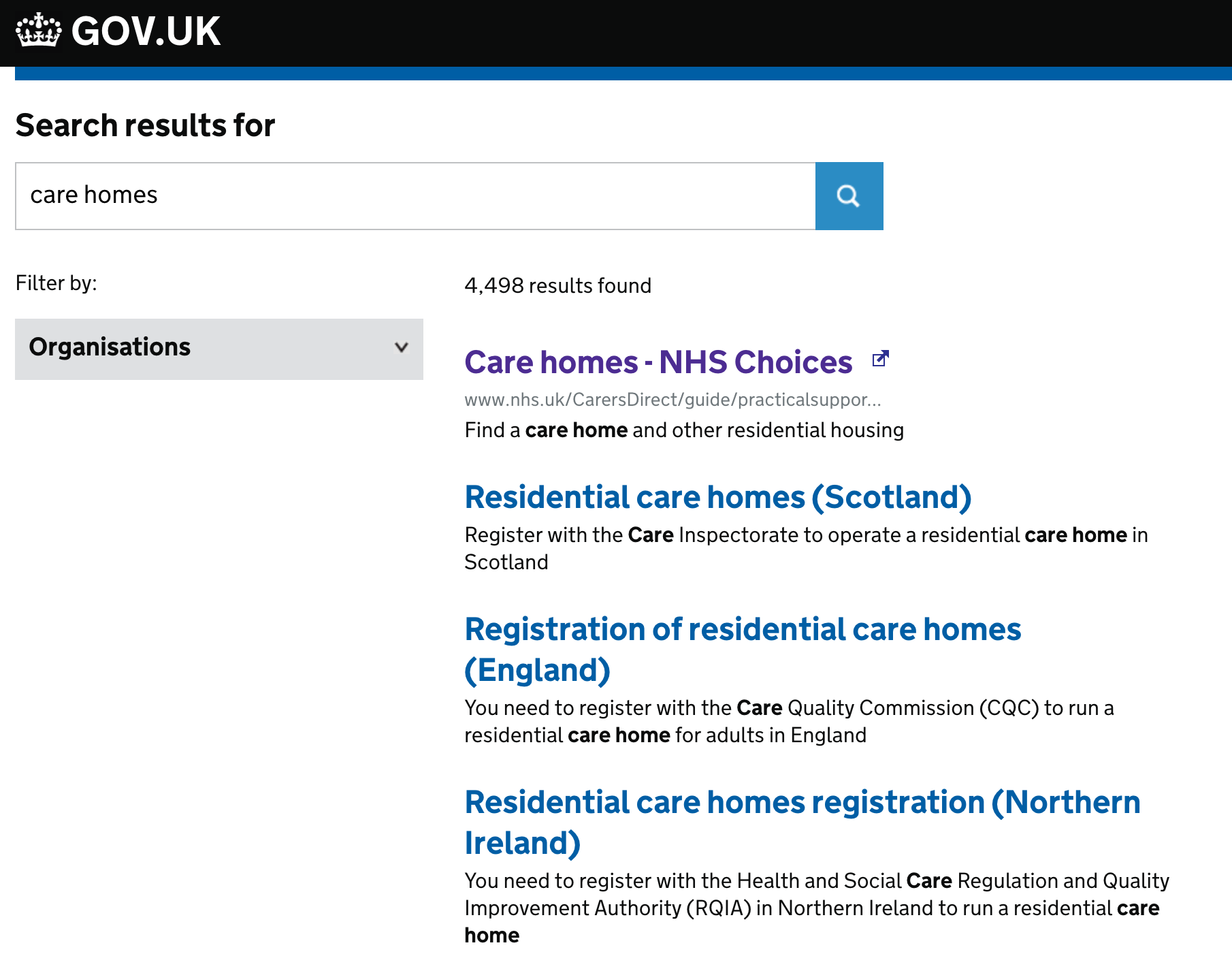 "Search for ""Care Home"""