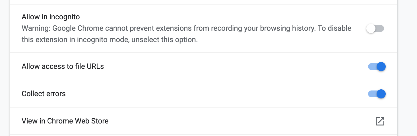 Allow access to file URLs permission