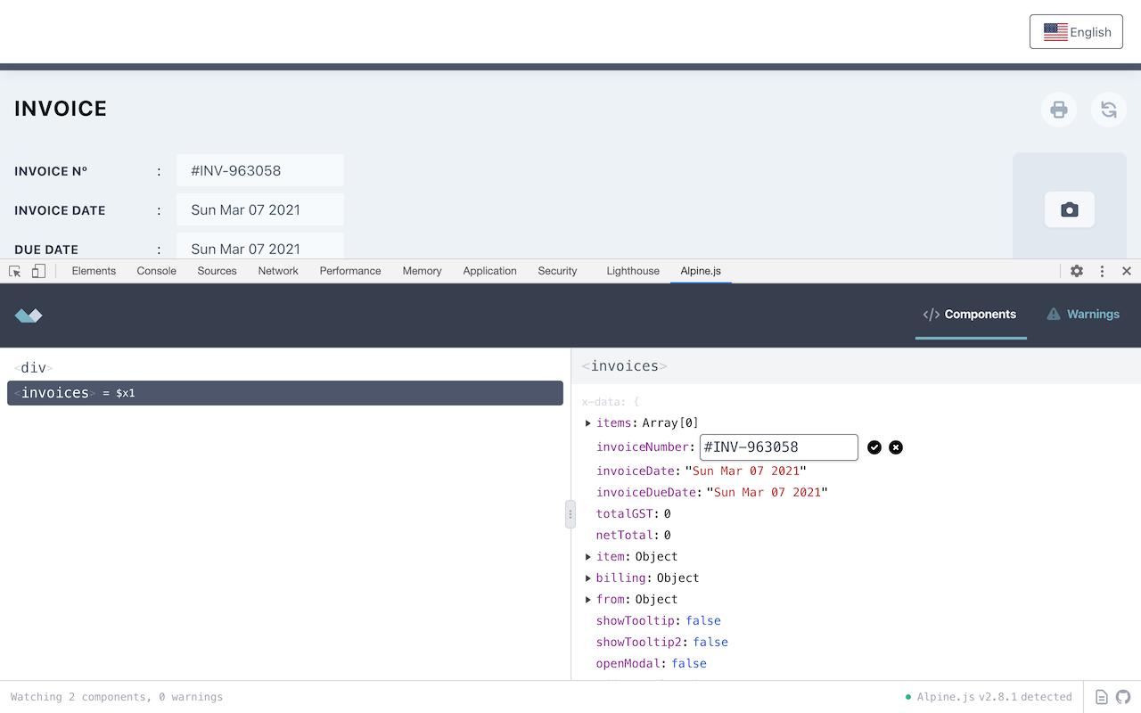 Screenshot of Alpine.js devtools