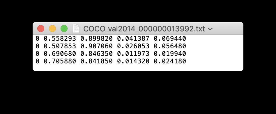 an example label.txt output via Yolo_mark for corresponding .jpg