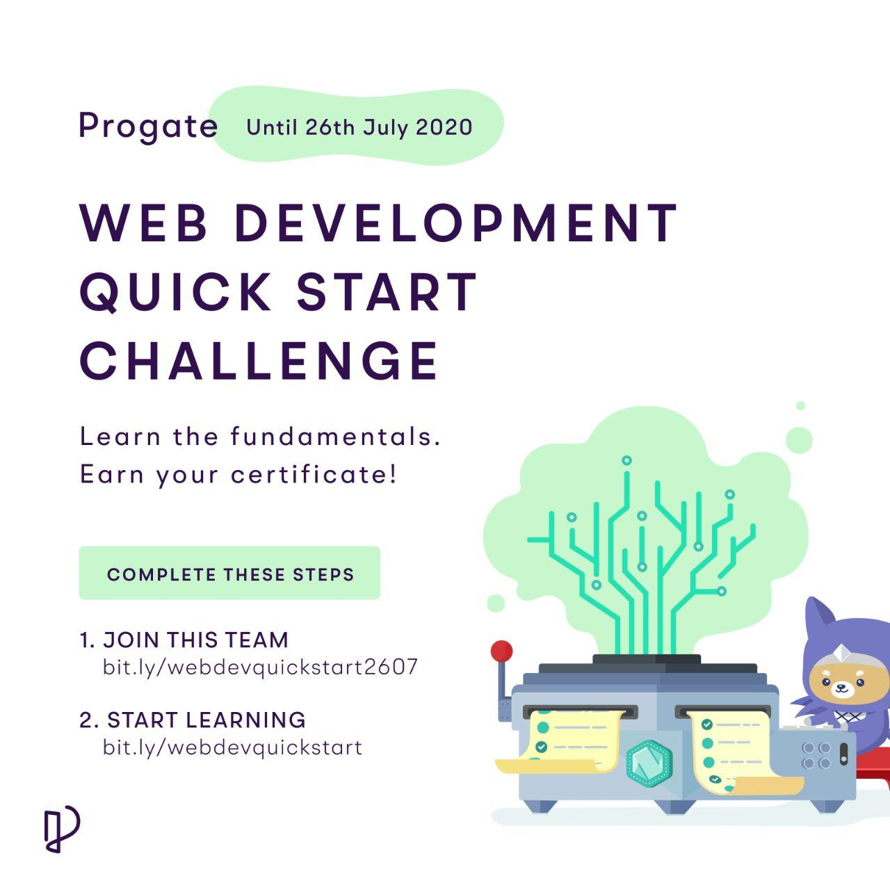 Progate is hosting Web Development Quick Start Challenge till 26th July 2020