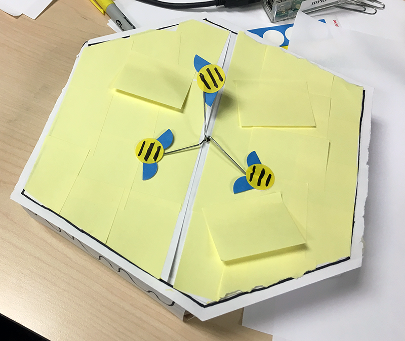 """paper prototype with """"LED"""" on"""