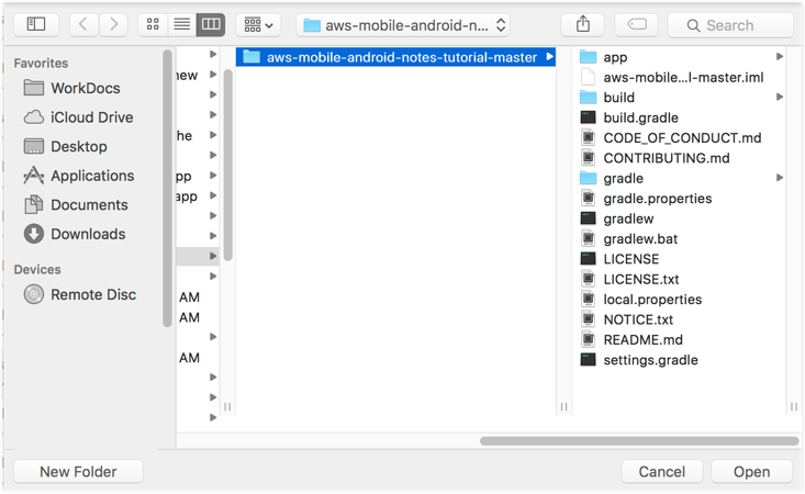 Find MyNotes folder in the Android Studio project explorer