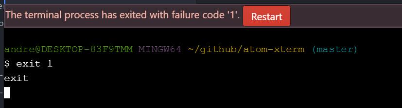 Atom Xterm exit failure