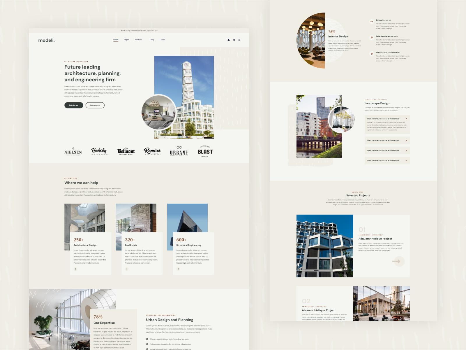 Modeli Architecture & Engineering Elementor Template kit