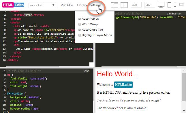 HTMLEdito - Main Features Editor