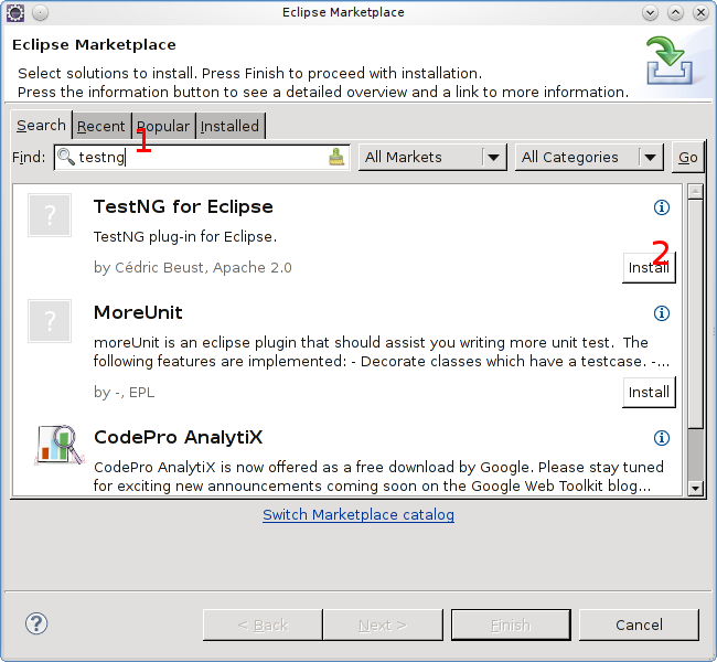 Installing testng from the marketplace
