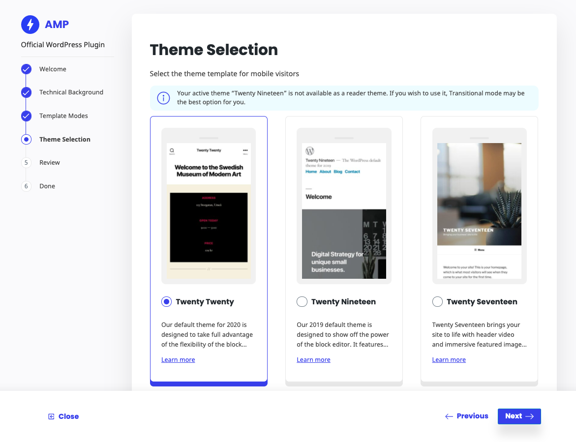 Theme selection to enhance the Reader mode experience.