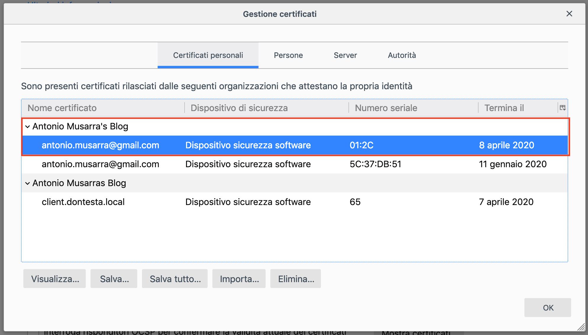Certificato Digitale Personale installato sul browser