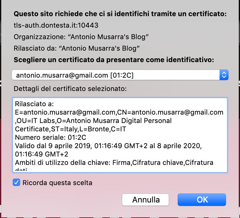 Selezione certificato