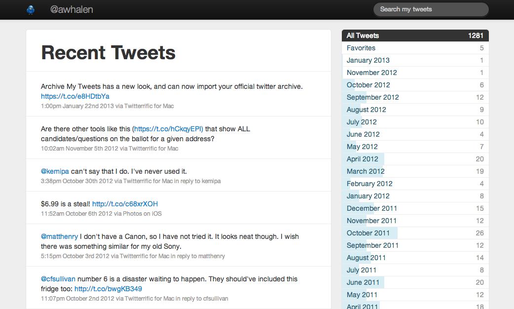 archive my tweets